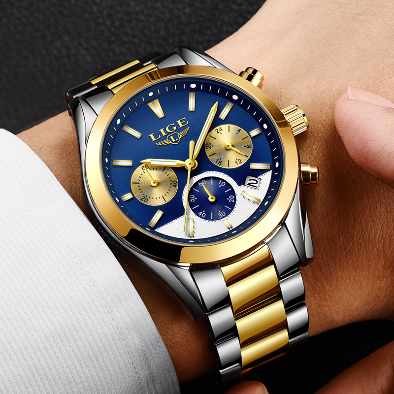 LIGE Mens Watches Top Brand Luxury Waterproof 24 hour Date Quartz Watch Man Full steel Sport Wrist Watch Men Waterproof Clock longbo top brand luxury lovers watch fashion full steel quartz watch men women waterproof auto date watches unisex hour montre