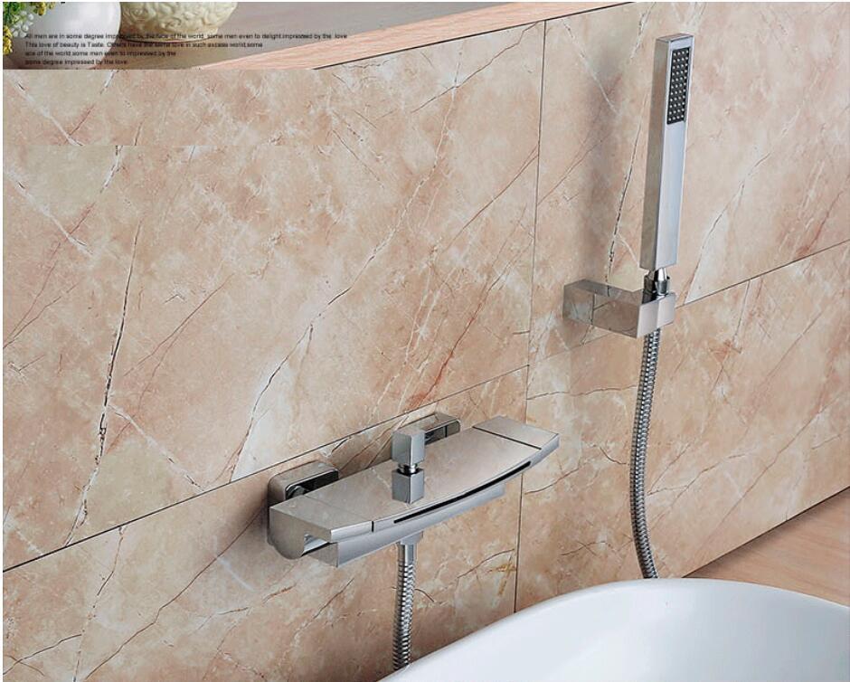 HTB1GucwXX67gK0jSZPfq6yhhFXao Wall Mounted Brass Bathroom Gold Waterfall Bathtub Faucet set Square hand held Shower Faucet Sets Bathtub Faucet Set