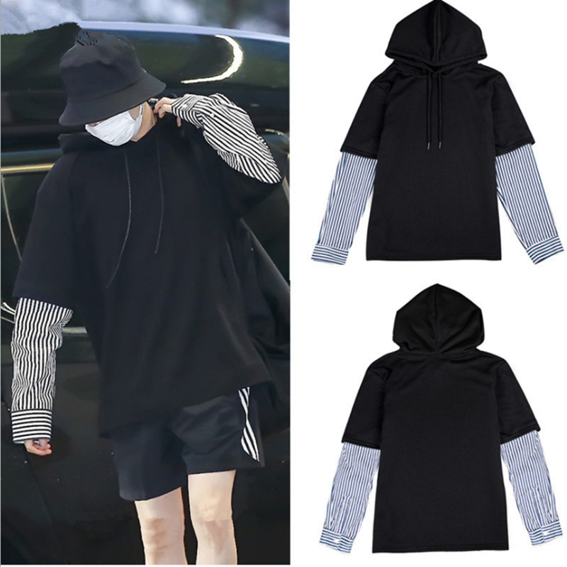 2019 JUNGKOOK Same Style Hoodie Sweatshirt Bangtan Boys Fans Female Pullovers Hip-Hop Sweatshirt Two pieces of false sets bts taehyung warriors