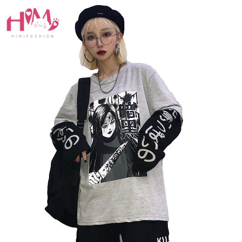 100% QualitäT Japanischen Harajuku Anime Kawaii T Hemd Koreanische Gothic Comic Cartoon Frauen Langarm Tops Oversize Gefälschte Zwei Stück Paare Kleiden Fabriken Und Minen