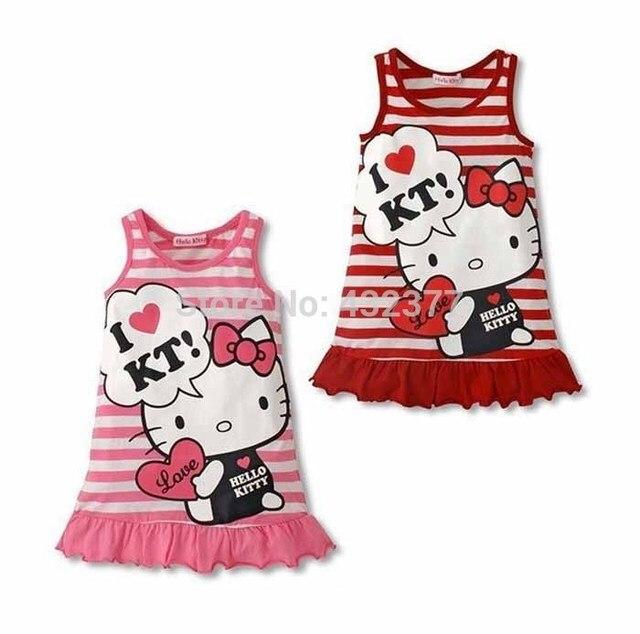 Rot und rosa streifen nette baby kleid/karton ärmelloses ...
