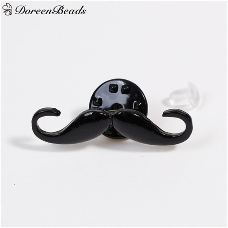 DoreenBeads New Fashion Pin Brooches Mustache Black Enamel Badges for Woman Man Coats Hats Sweater Party Gift 1 PC