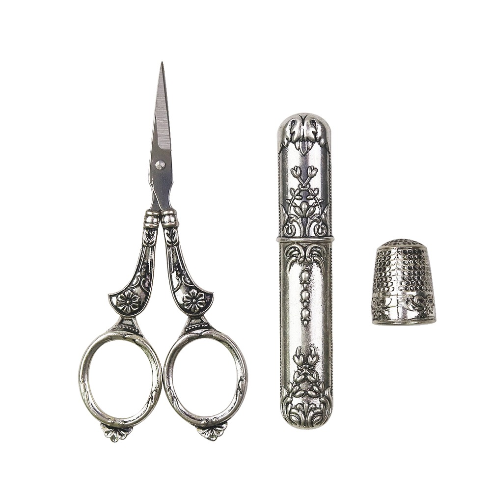 Cutting Supplies Professional European Vintage Silvertailor Scissors Kit Thimble Needle Case Sewing Embroidery Cross Stich Household Home Tool Pretty And Colorful