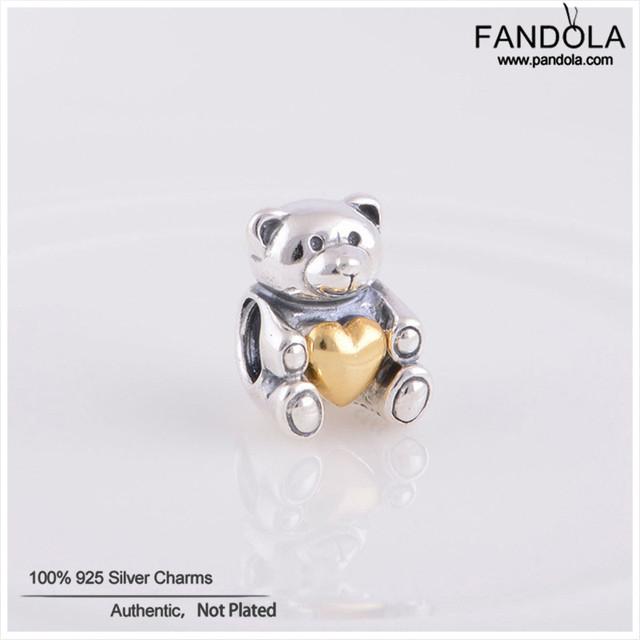 100% 925 prata esterlina encantos para fazer jóias coração contas de urso de pelúcia mulheres belas jóias diy serve para pandora pulseiras