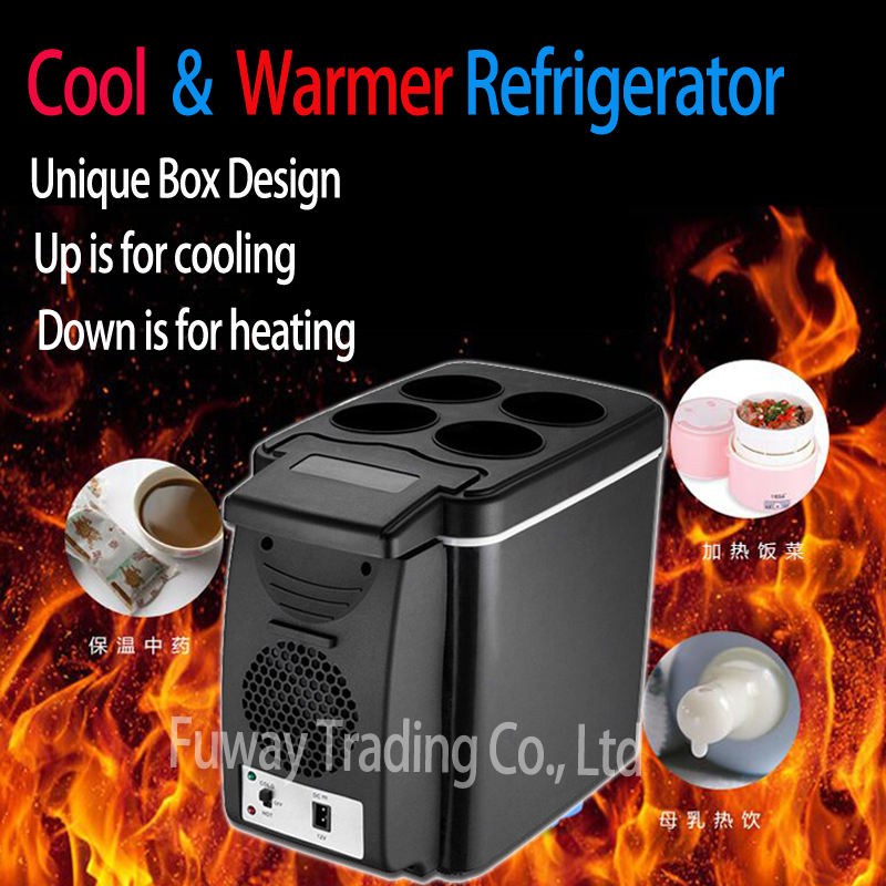 Free Shipping 2018 Portable 12V 6L Auto Car Mini Fridge Travel Refrigerator Quality ABS Multi Function