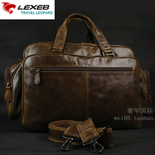 LEXEB Brand Full Grain Leather Men's Briefcases 15″ Laptop Large Capacity Business Travel Bags Chocolate serviette cuir homme