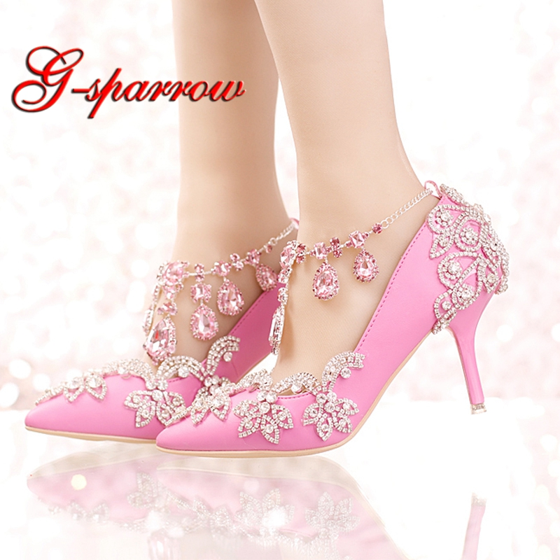 New Designer Pointed Toe Rhinestone Wedding Shoes Crystal Tassel Ankle Strap Banquet Formal Dress Shoes Luxury Women Prom Pumps handmade rhinestone sewing wedding shoes bow beaded bride formal dress the banquet hhigh heeled wedding dress single shoes