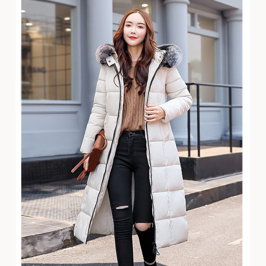 Winter Women Cotton Padded Coat Big Fur Collar Warm Long   Parka   Coat Female Wadded Plus Size Hooded Coat
