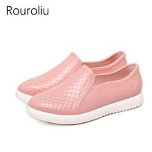 New 2017 Women Fashion PVC Rain Shoes Slip-on Lazy Flats Shoes Waterproof Crocodile Pattern Water Shoes Woman Wellies #RS12