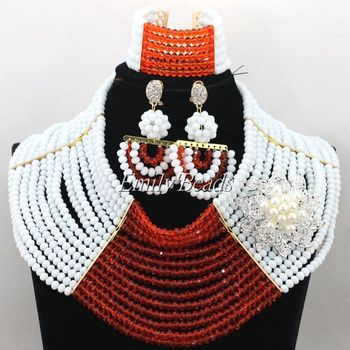 Terrific African Wedding Nigerian Beads Jewelry Set White/Orange Bride Gift Beads Choker Necklace Set Free Shipping ALJ005