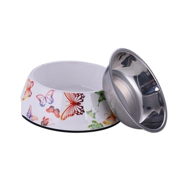 Pet Feeding Bowl Non-slip Stainless Steel Dog Feeders Animal Pattern Cat Food Water Bowl Water Food Dish Pet Storage S/M/L