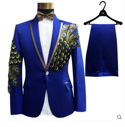 Erkek Kıyafeti'ten Blazerler'de LONMMY Düğün erkekler blazer slim fit Tavuskuşu çiçekler Pullu İşlemeli Takım Elbise erkek 2 parça/takım Ceket + Pantolon Tasarımları'da  Grup 2