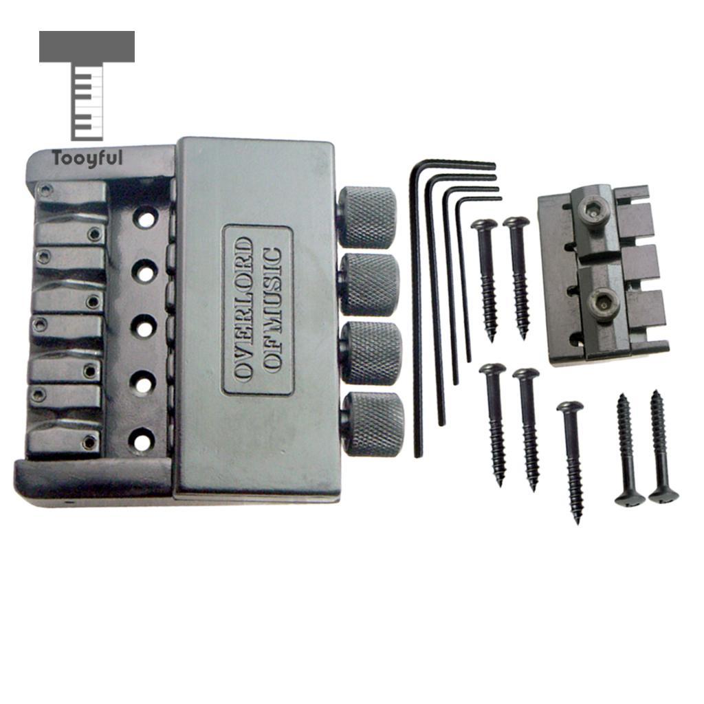 Tooyful 1 Set 4 String Bass Saddle Headless Bridge Tailpiece with Screws Kit for Electric Bass