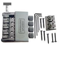 Tooyful 1 Set 4 String Bass Saddle Headless Bridge Tailpiece with Screws Kit for Electric Bass Guitar Parts Replacement