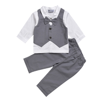 Newborn Baby Clothes Children Clothing Gentleman Baby Boy Grey Fake Two Pieces Bowknot Shirt Long Pants