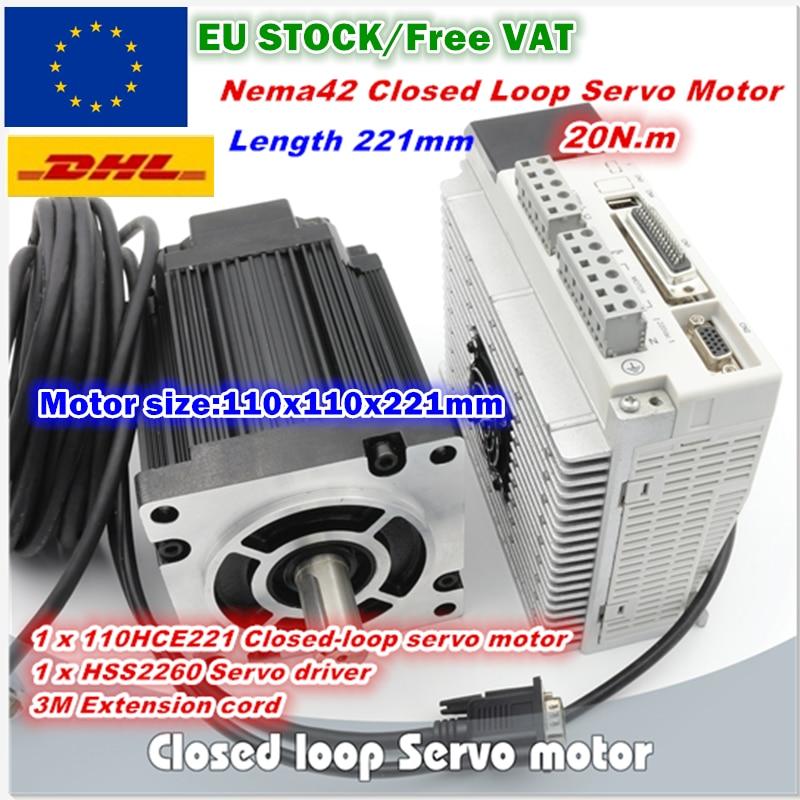 EU 20N m Closed loop Servo motor 221mm 2880oz in 3 Phase 110 Nema42 Hybrid