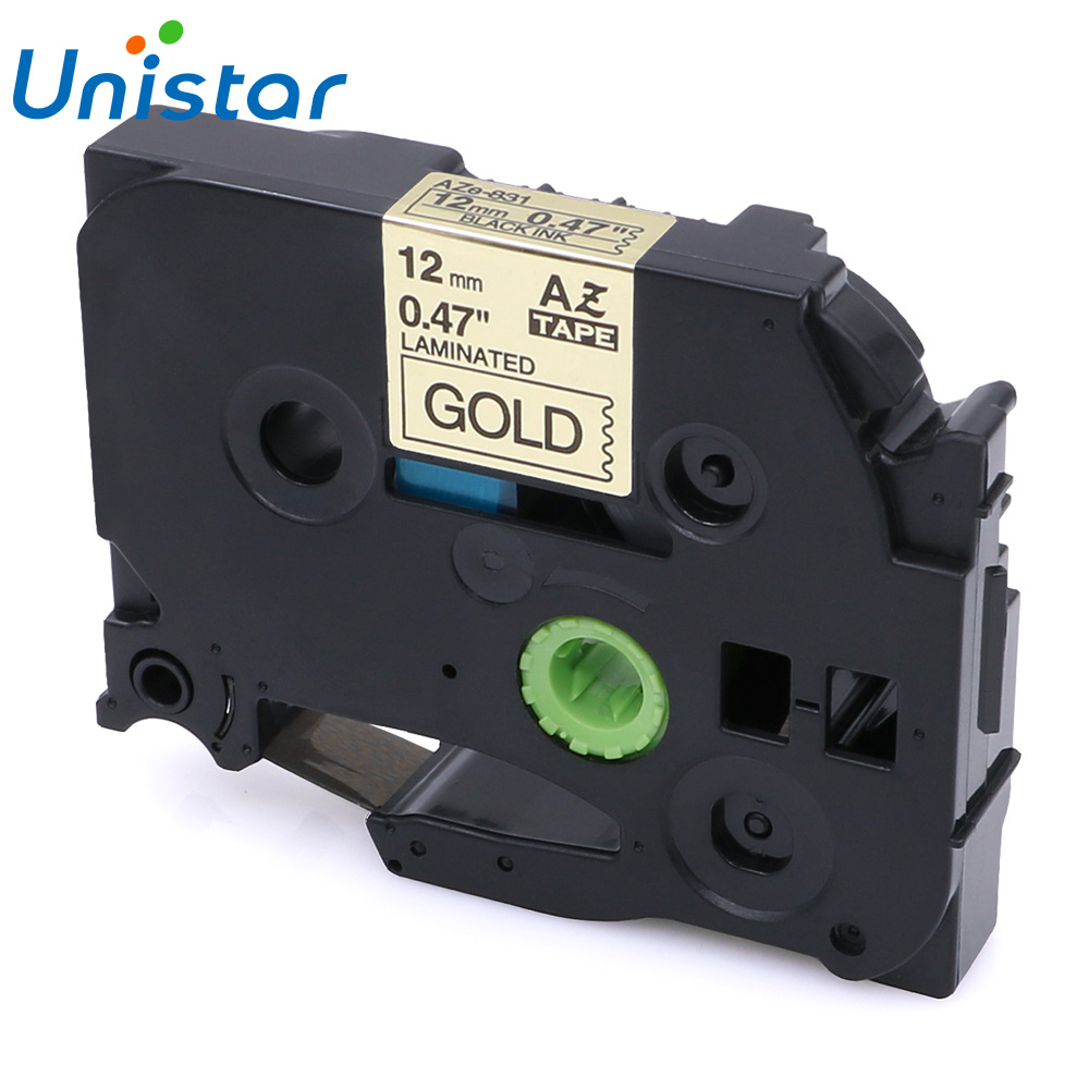 TZe-831 Compatible Brother P-touch Tape 12mm Black on Gold Label Ribbons Tze831 TZe 831 for Brother P touch Label Printer
