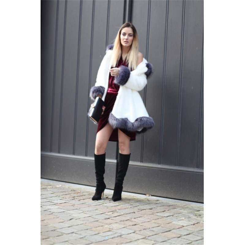 Plein Di Femmes Mince À noir Hoodies Delle Blanc Manteau De Capuche D'hiver Donne Veste Fourrure Renard Giacca Pelliccia Manches Faux Vison TYwq7PpTrn