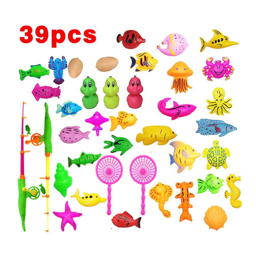 39Pcs Set Plastic Magnetic Fishing Toys Baby Bath Toy Fishing Game Kids 1 Poles 1 Nets 13 Magnet Fish Indoor Outdoor Fun Baby