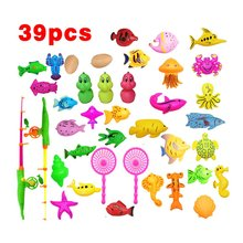 39Pcs Set Plastic Magnetic Fishing Toys Baby Bath Toy Fishing Game Kids 1 Poles 1 Nets 13 Magnet Fish Indoor Outdoor Fun Baby недорого