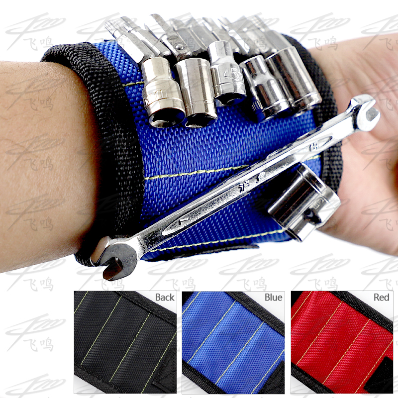 Polyester Magnetic Wristband Portable Tool Bag Electrician Wrist Tool Belt Screws Nails Drill Bits Holder Repair Tools цены