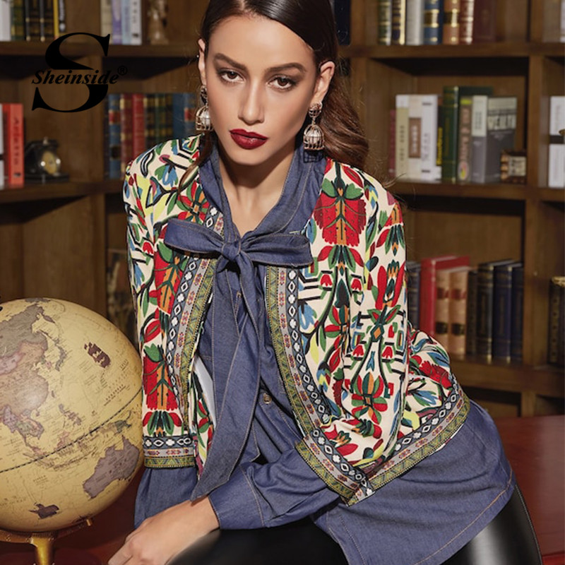 US $14.66 47% OFF|Sheinside Embroidery Outerwear Winter Tribal Print Office Ladies Women Coats and Jackets Vintage Autumn Long Sleeve Coat in Jackets