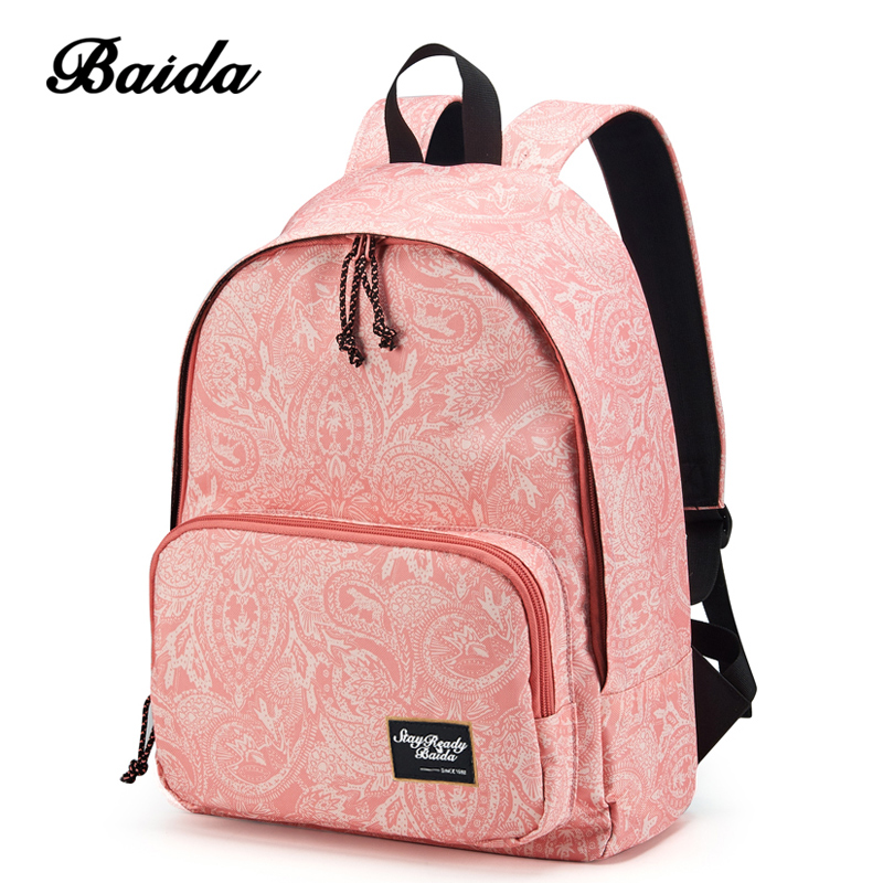 Fashion Printing Backpacks Women Canvas Print Pink Backpack Bag for High School Girl Mochilas Bright Color Waterproof Bags