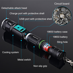 Image 3 - military police use flashlight waterproof T6 long range rechargeable LED light riding hunting torch tactical flashlight 18650
