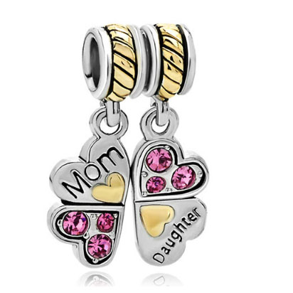 Fit Pandora charm bracelets Mother Daughter Charm Bracelets Heart Love Butterfly Charm Bracelet beads for jewelry making