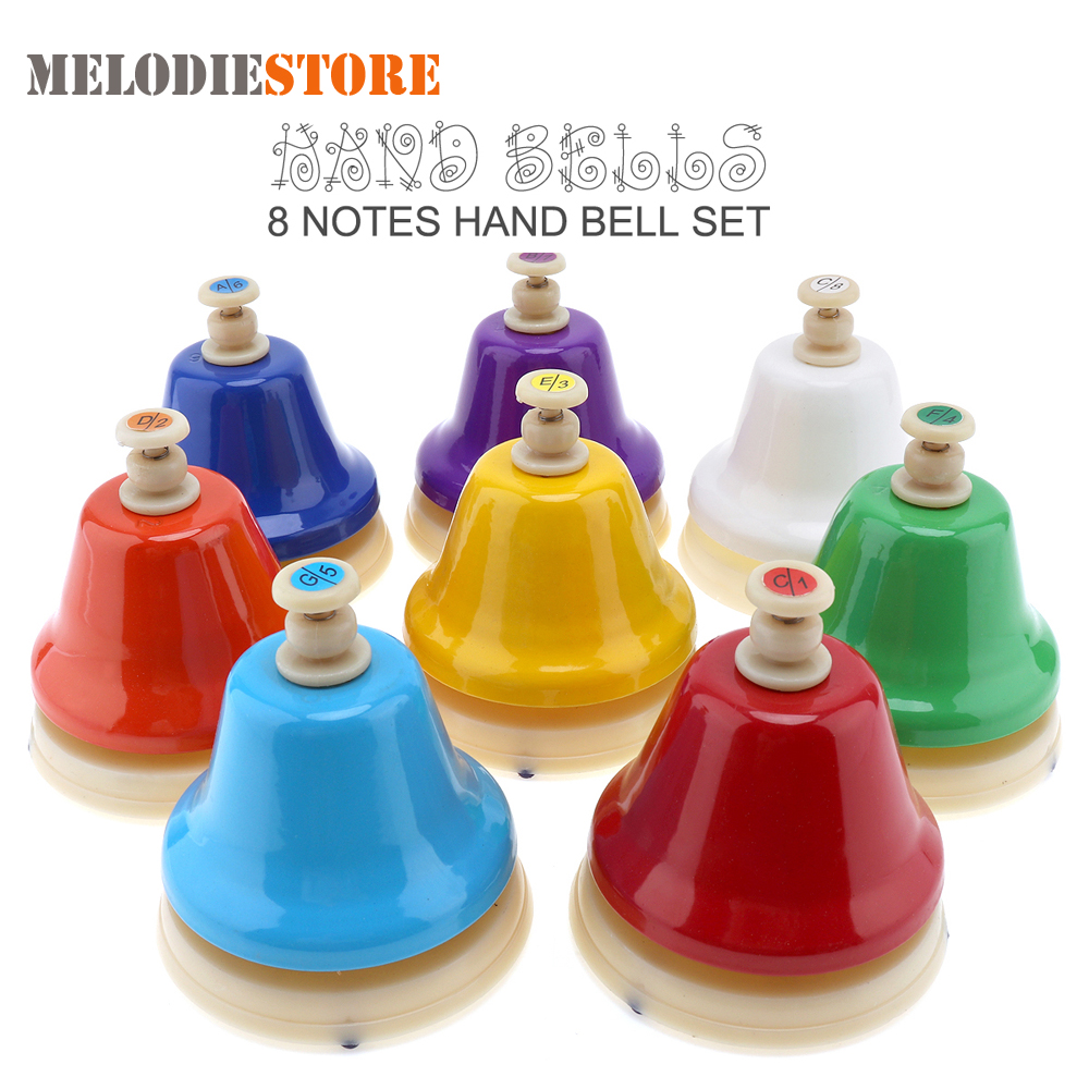 Colorful 8 Note Hand Bell Set Musical Instrment Musical Toy For Kids Children Baby Early Educational Toys