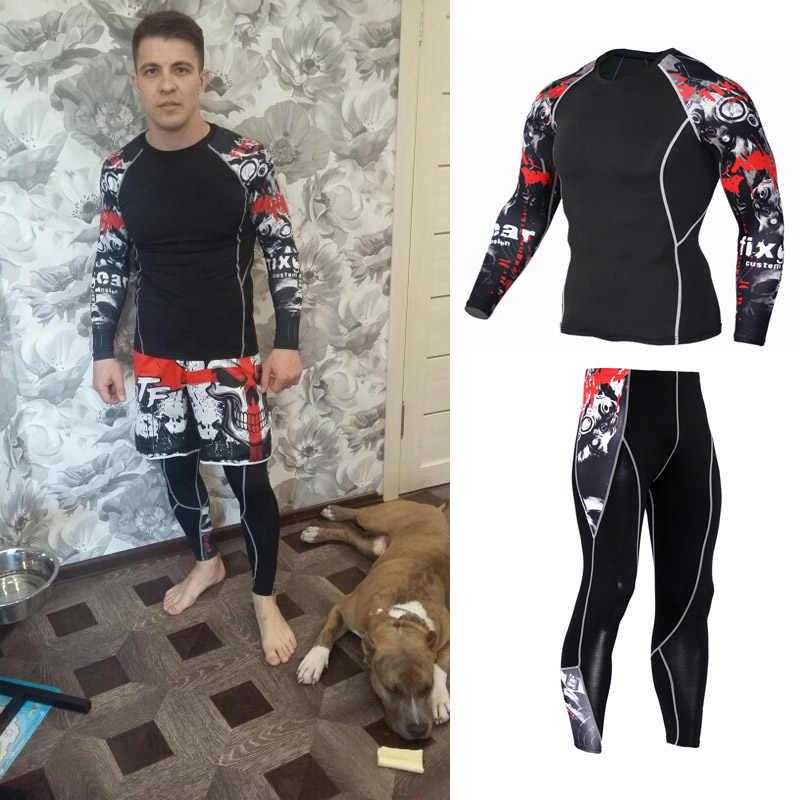 MMA для мужчин сжатия бег костюмы одежда спортивный комплект 4xl длинная футболка и брюки для девочек фитнес тренажерный зал фитнес Training колготки