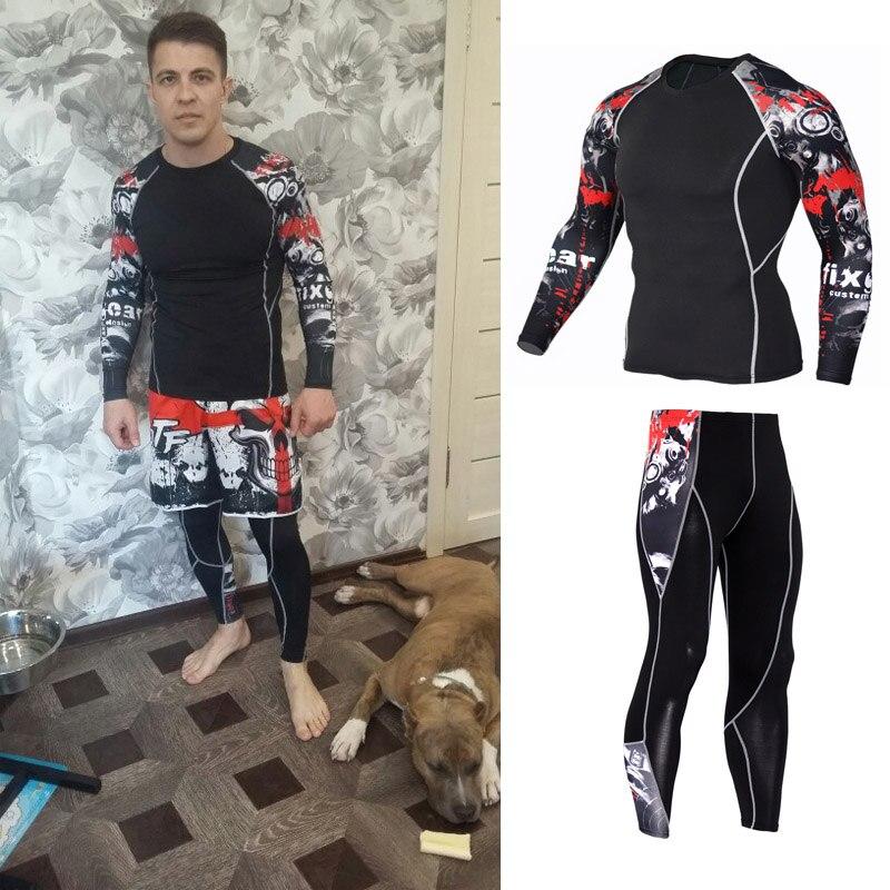 MMA Pour Hommes Compression Jogging Costumes Ensemble Des Vêtements De Sport 4xl Long T-Shirt Et Pantalon Filles Fitness Gym Formation de Remise En Forme Collants