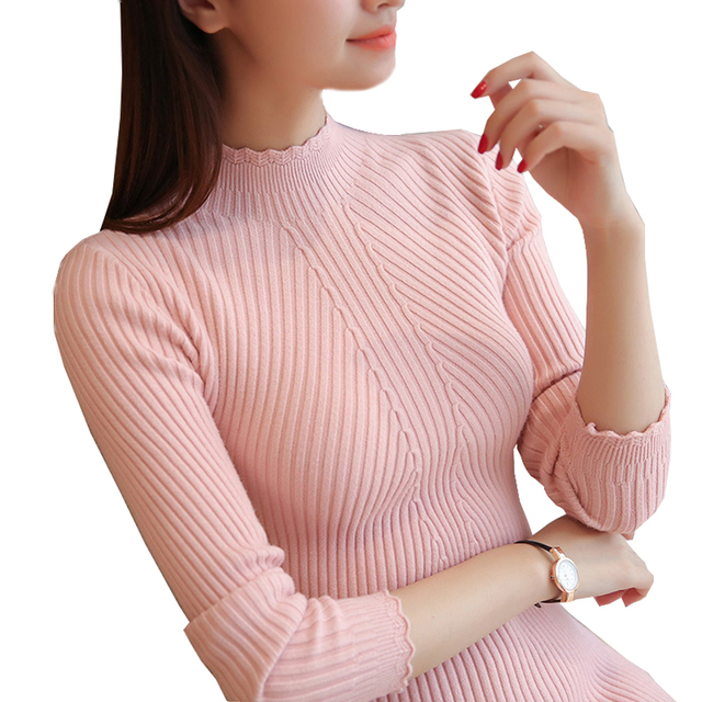Autumn Korean Women Sexy Turtleneck Lace Collar Sweaters And