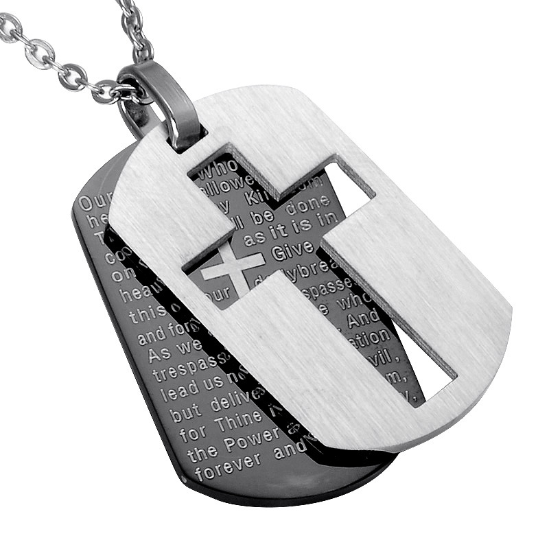 Looker Cross Halskjede Pendants Christian Jeweller Bible Lords Bønn Dog Tags Gull Farge Rustfritt Stål Christmas Gift For Men