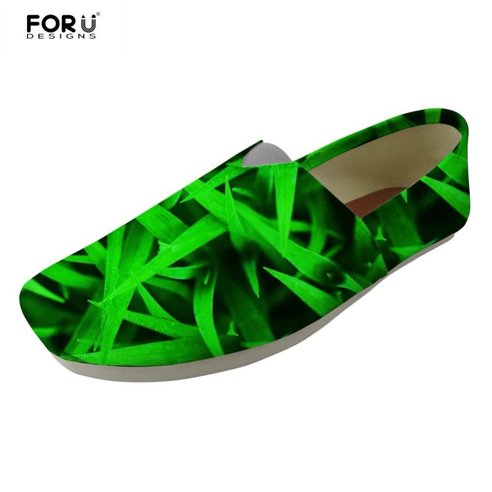 FORUDESIGNS 3D Grass Pattern Casual Brand Female Canvas Flats Shoes Luxury Women Lightweight Slip on Lazy Cloth Shoes for Girls