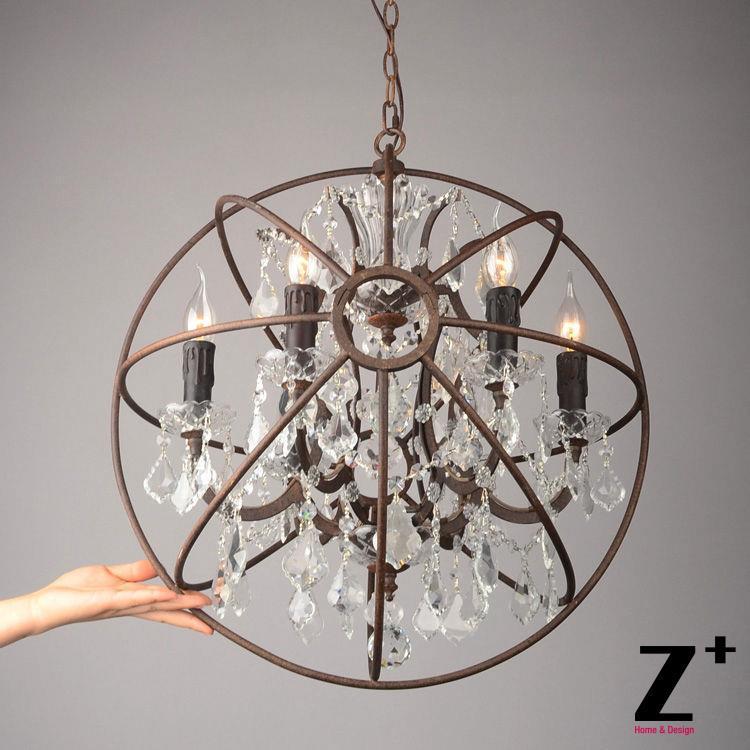 replica item american style vintage lustre light foucaults orb clear crystal chandelier loft coffee bar iron - Sphere Chandelier