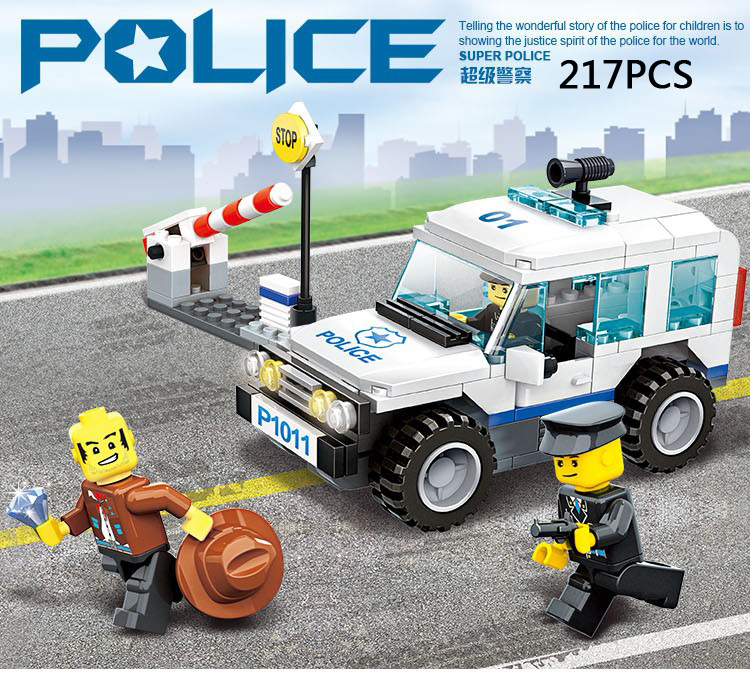 City Super traffic police patrol jeep car 3in1 building blocks mini policeman swat Thief figures wanges bricks educational toys city series police car motorcycle building blocks policeman models toys for children boy gifts compatible with legoeinglys 26014