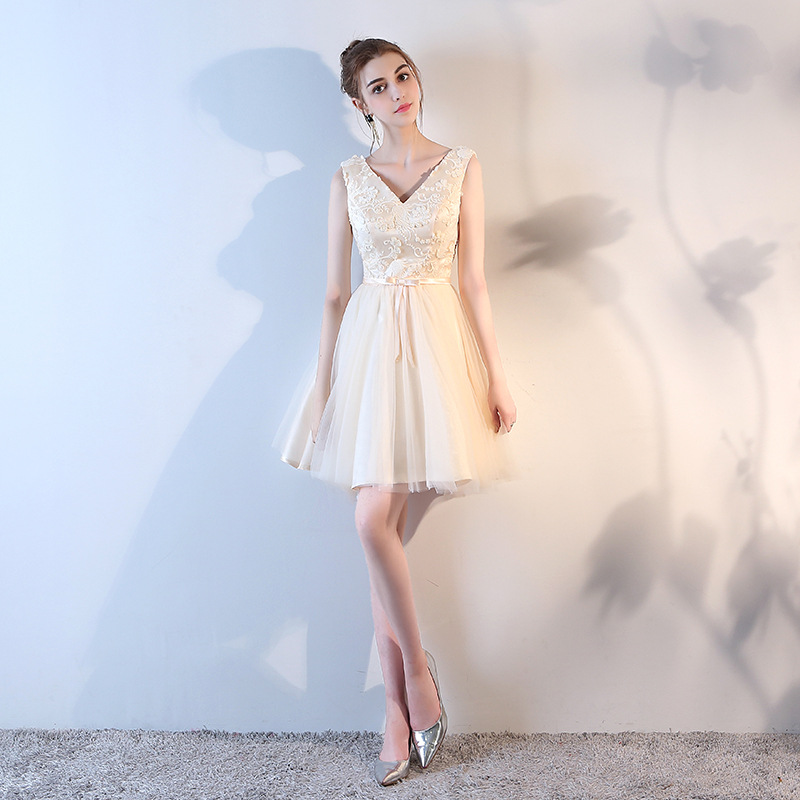 80f44940c3539 Blue/pink/Silver/Champagne Short Bridesmaid Dresses V-Neck Lace Satin  Wedding Party Gowns Cheap