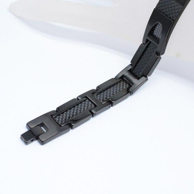 Фото эскалус магнитный чистый титановый черный браслет для мужчин