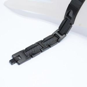 Image 3 - Escalus Magnetic Pure Titanium Black Bracelet For Men Carbon Fiber Stylist Germanium Charm New Bracelets Wristband