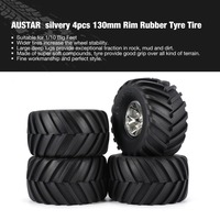 AUSTAR 4pcs AX 3003 130mm Rim Rubber Tyre Tire Wheel Plastic Hub for 1/10 RC Big Feet Model HSP HPI Beadlock Spare Parts New