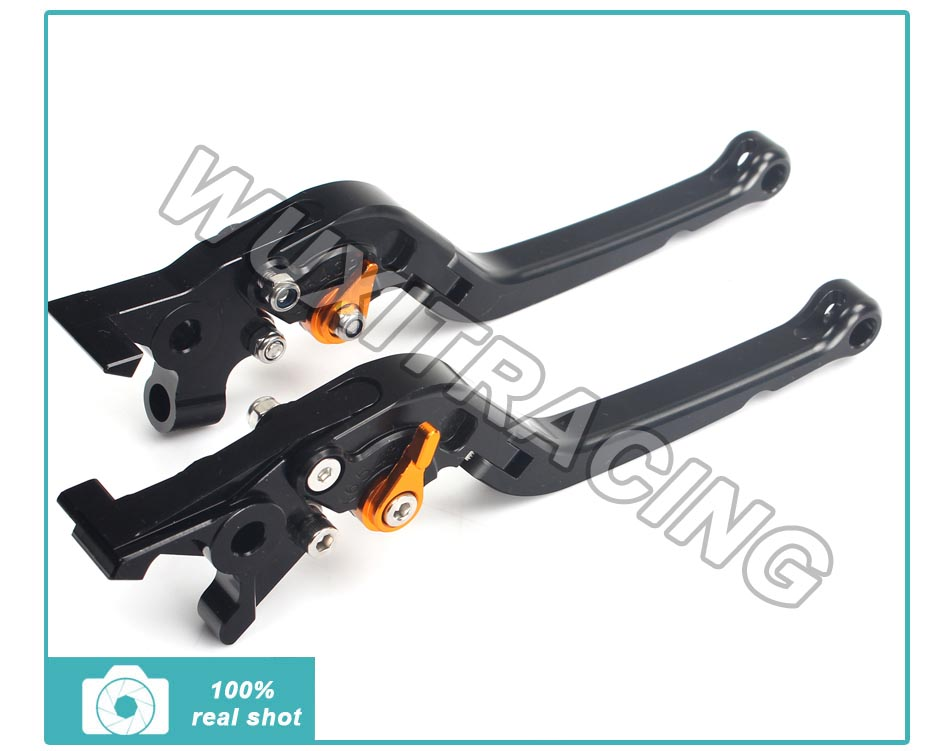 ФОТО CNC Adjustable Long Folding Brake Clutch Lever For KAWASAKI Z750 2007-2011 Z800 2013-2014 Black