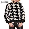 HYH HAOYIHUI 2017 Brand New Fashion Autumn Women Plaid Ribbed Pullover Sweater Long Sleeve Crew Neck Loose Casual Sweater