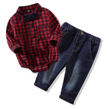 f965ff079b91 Los recién nacidos ropa nueva ropa de tela escocesa rojo monos camisas +  Pantalones vaqueros ropa
