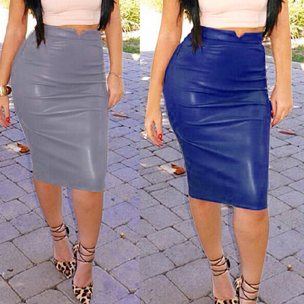2019 New Plus Size Skirt Fashion Women Solid Color Leather High Waist Slim Party Pencil Gray & Blue Above Skirt #C