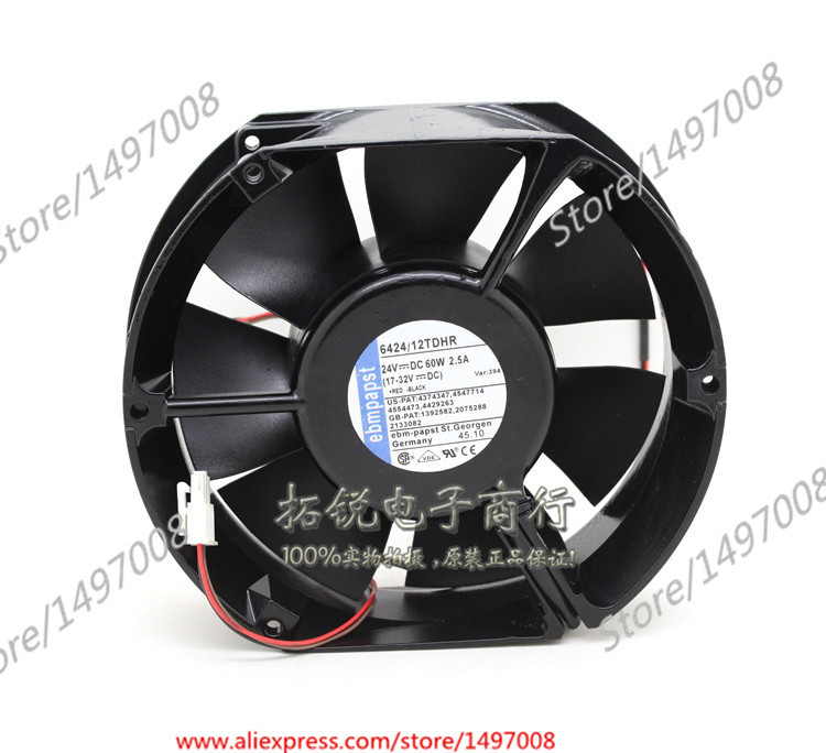 Free Shipping For ebmpapst 6424/12TDHR DC 24V 60W 2-wire 2-pin connector 100mm, 172x150x50mm Server Square fan free shipping for delta afc0612db 9j10r dc 12v 0 45a 60x60x15mm 60mm 3 wire 3 pin connector server square fan
