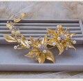 Planta de gama alta chapado en oro pendientes largos joyería Barroca tiara nupcial pelo de la boda accesorios nupciales del pelo al por mayor