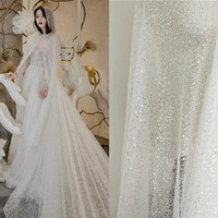1 Yard! Luxurious heavy beading lace wedding gowns lace fabric with silvery sequins! Lace+beads+sequins Shiny shiny shiny fabric