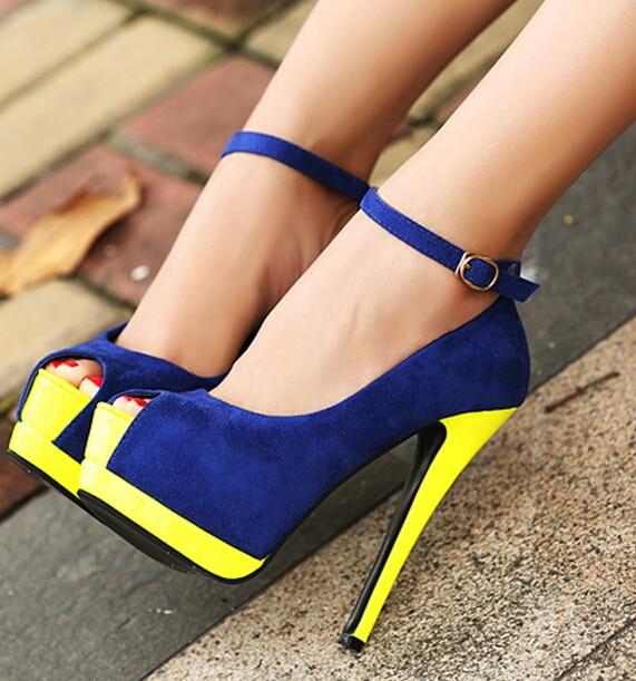 edc73f79c1 New 2014 Royal Blue Platform Peep Toe Ankle Strap High Heels Women Pumps  Sandals Thin Heel Lady Shoes Woman Stilettos Summer