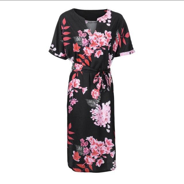 New Fashion Ladies Large Size V-neck short-sleeved Belt Print Dress Fashion Floral Dress Dresses Women Summer Plus Size